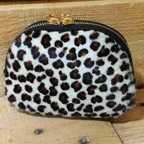 Monedero Piel de Potro Mini-Leopardo Blanco