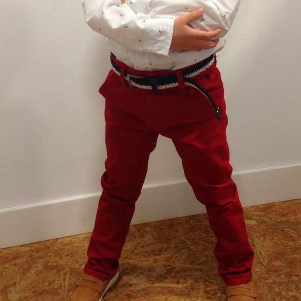 Pantalón Niño Corte Chino Burdeos