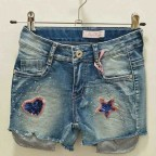 Short Niña Denim Parches Glitter