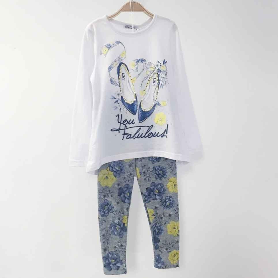 Conjunto Niña Fular, Camiseta y Legging FABULOUS Blanco