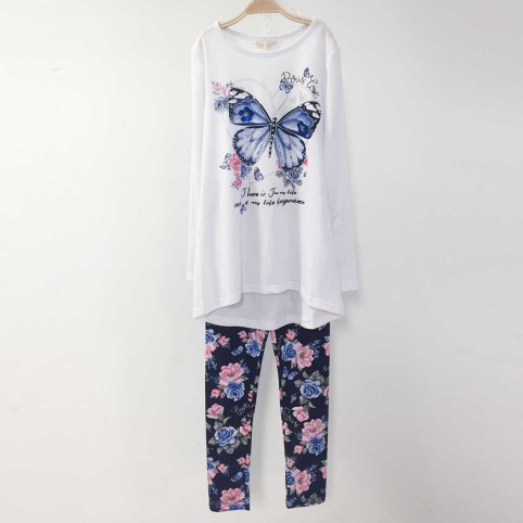 Conjunto Niña Camiseta y Legging PARIS LOVE Blanco