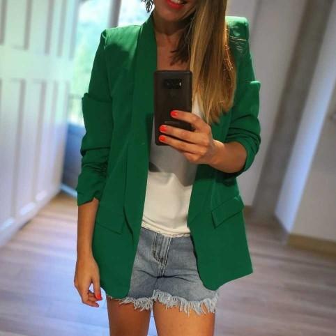 Blazer MANGA FRUNCIDA Verde Benetton