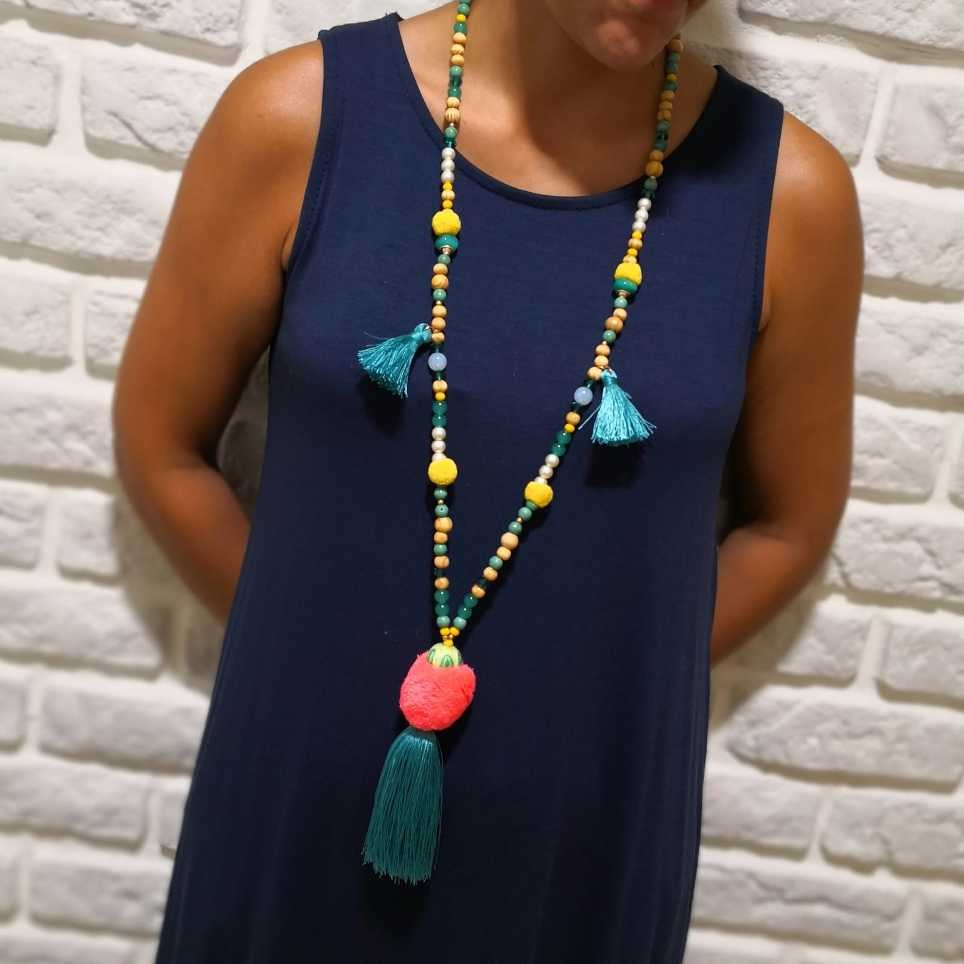 Collar Flecos CARACAS Aguamarina