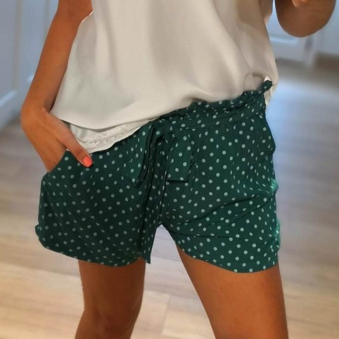 Short Lunares Verde Esmeralda