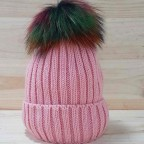 Gorro Liso Pompón Multicolor Rosa