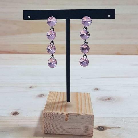 Pendientes Largos Cristales Rosa