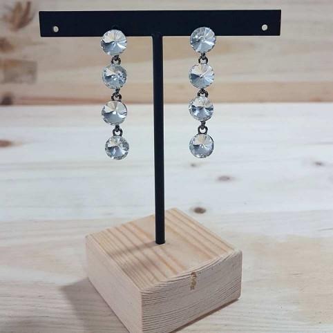 Pendientes Largos Cristales Plata