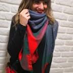 Bufanda Cuadrada Cuadros Verde / Rojo 48