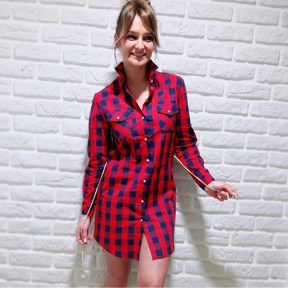 Vestido Cuadros TAYLOR Rojo / Azul