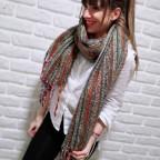 Bufanda Rectangular Hebra Khaki/Multicolor 83