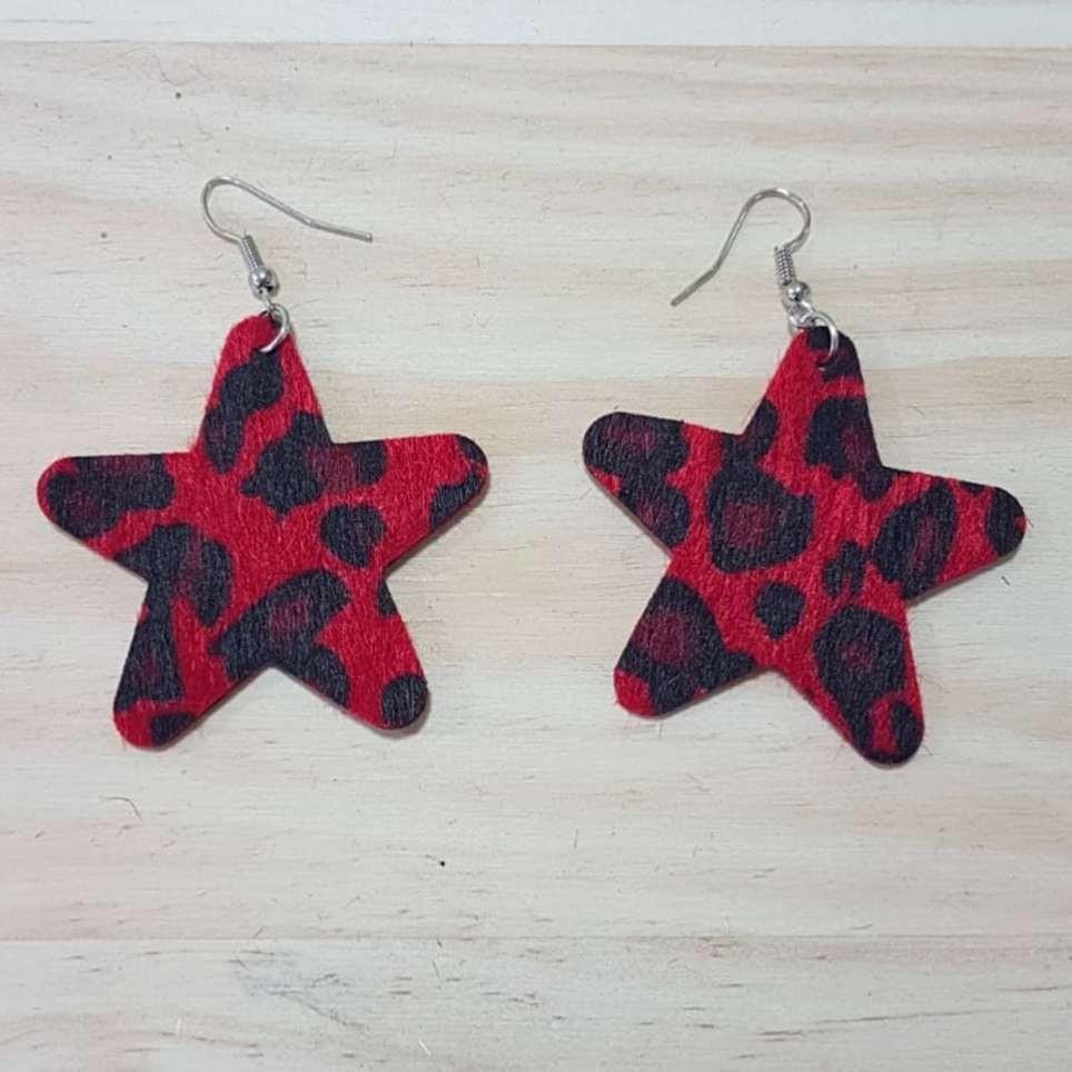 Pendientes Print Estrella Rojo