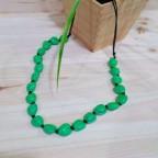Collar Largo CORAZONES Verde Irisado