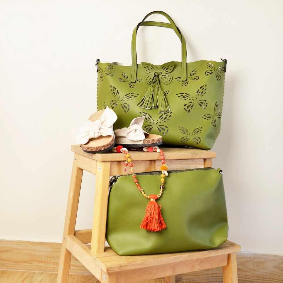 Bolso Shopper Mariposas con Neceser Verde