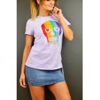 Camiseta Fruncido Calavera Lila