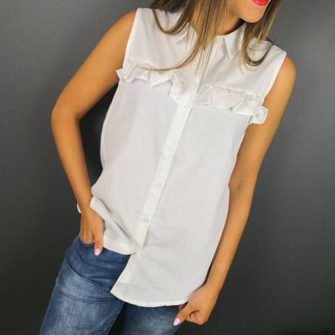 Camisa Vichy Volantes y Perlas
