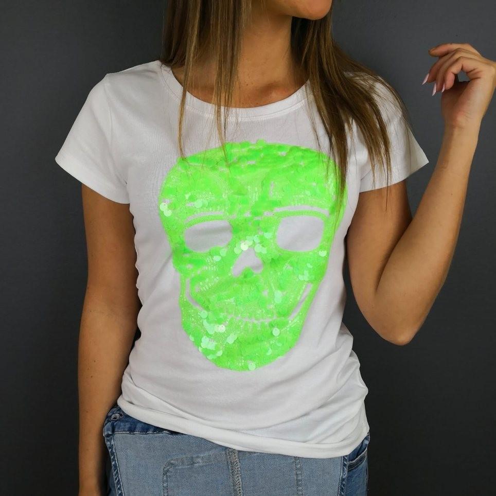 Camiseta Glitter Calavera Blanco / Verde Flúor