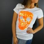 Camiseta Glitter Calavera Blanco / Naranja Flúor