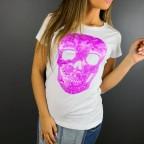 Camiseta Glitter Calavera Blanco / Morado Flúor