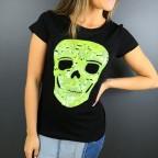 Camiseta Glitter Calavera Negro / Amarillo Flúor
