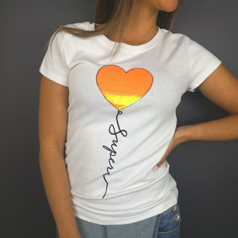 Camiseta Glitter SUPER Blanco / Naranja Flúor