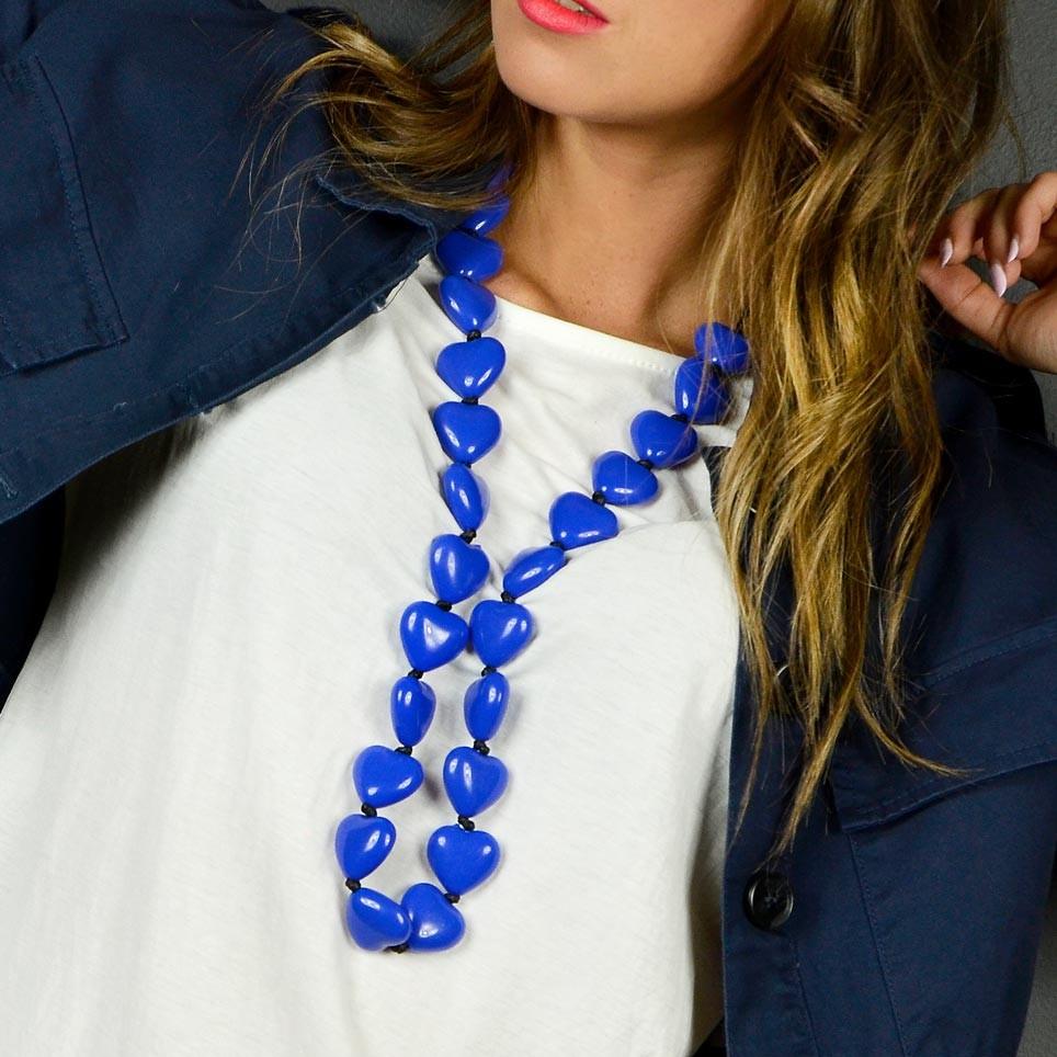 Collar Largo CORAZONES Azul