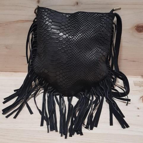 Bolso Reptil con Flecos Negro