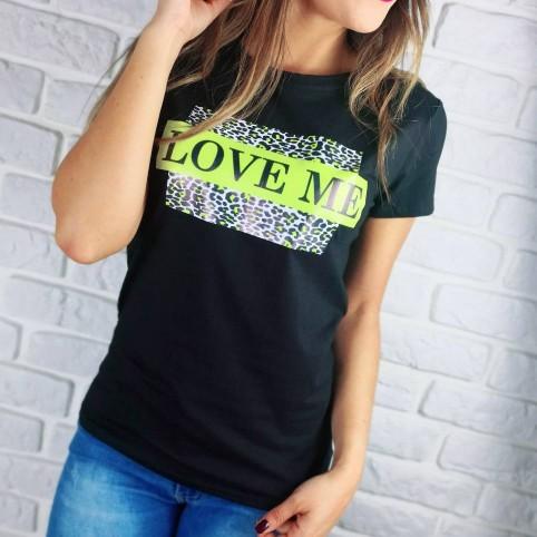 Camiseta Print LOVE ME Negro/Verde