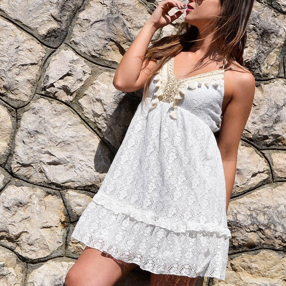 5fcffb80f4 Vestido Bordado IBAI Blanco