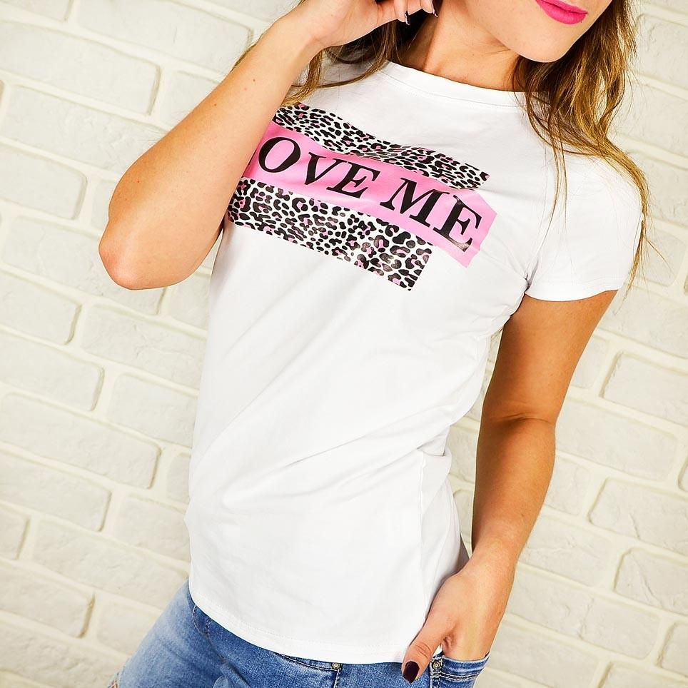 Camiseta Print LOVE ME Blanco/Rosa