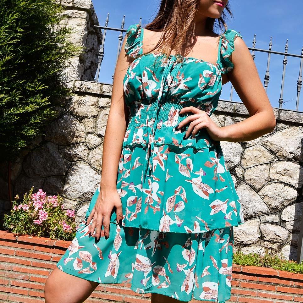 Vestido Gasa CATALEYA Verde
