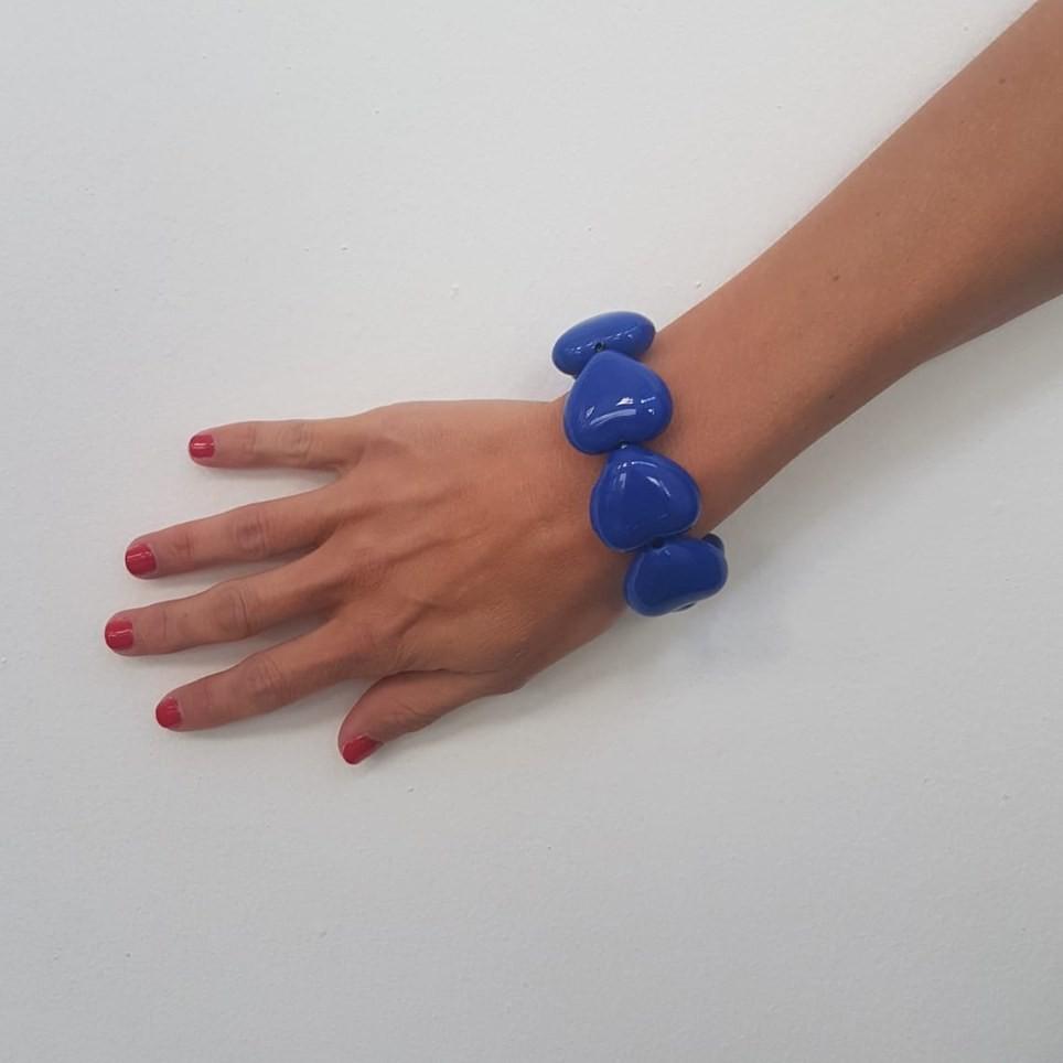 Pulsera Corazones AMARILIS Azul Klein