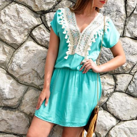 Vestido Boho DEVA Aguamarina