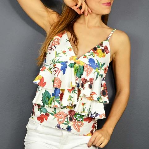 Top Floral EBONY Blanco