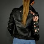 Cazadora Biker Bordados Negro