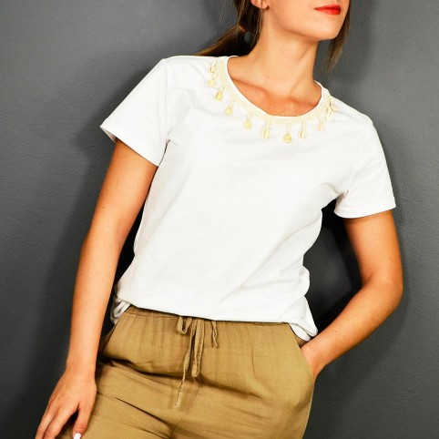 Camiseta Blanca Conchas