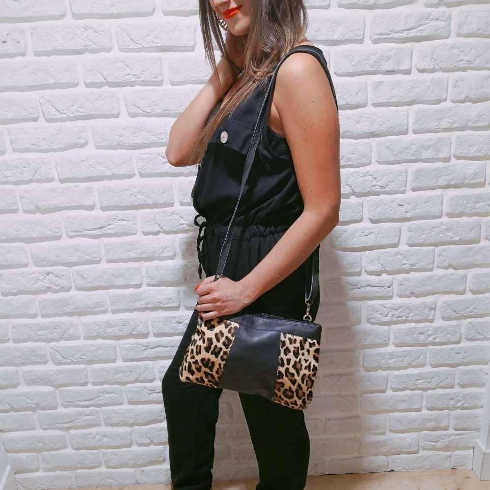 Bolso Sobre Combinado Leopardo Negro