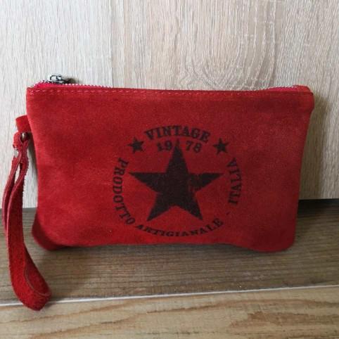 Cartera Ante Estrella Rojo