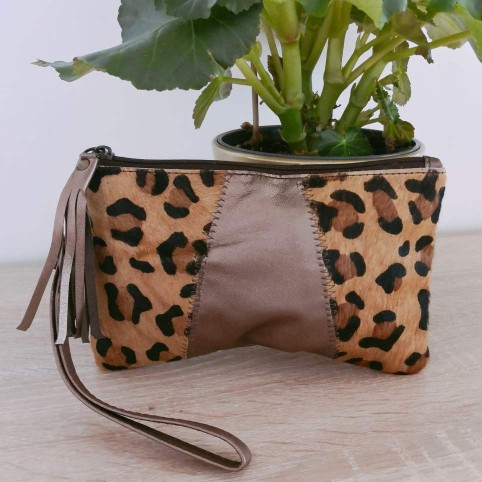 Cartera Piel Bronce/Leopardo