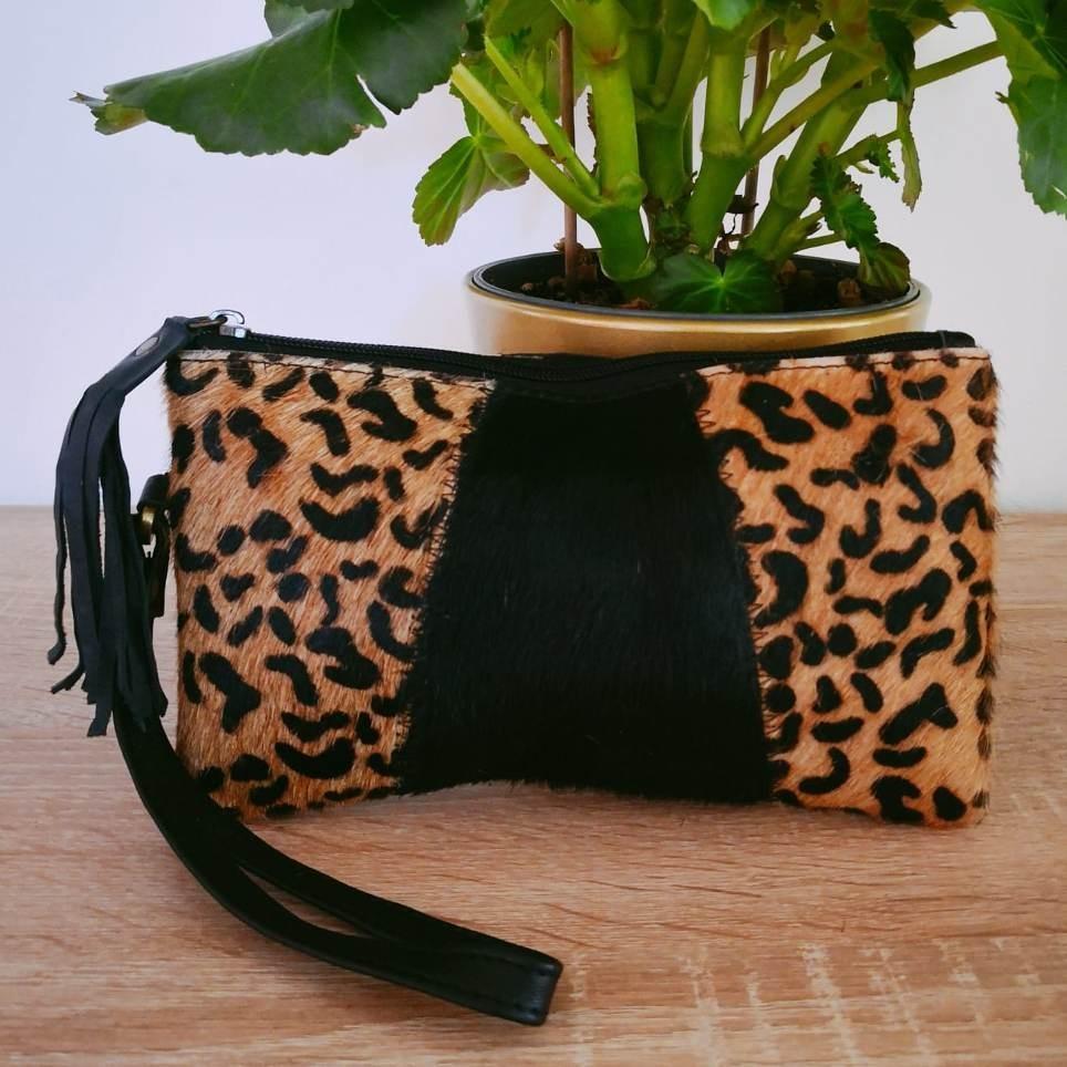 Cartera Piel Negro/Leopardo