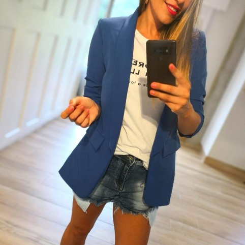 Blazer Oversize Bianca Azul Klein