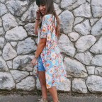 Kimono Estampado MONTEVIDEO Azul Cian