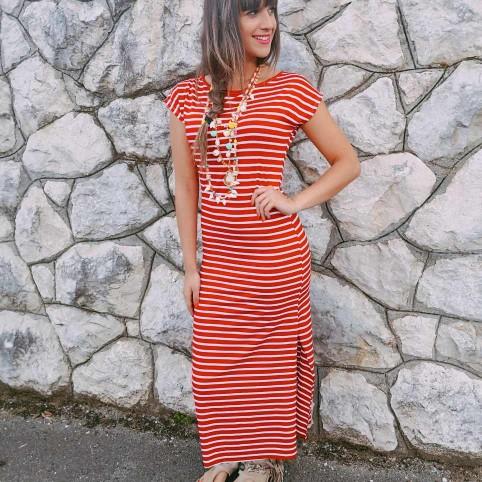 Vestido Rayas GUIOMAR Rojo