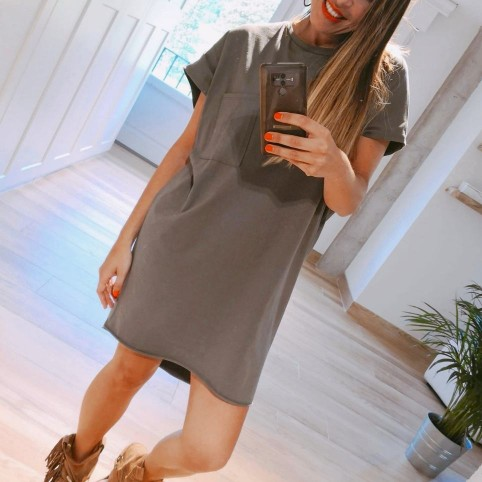 Vestido Algodón Oversize Khaki