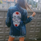 Cazadora Denim Extra Long Calavera