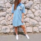 Vestido Denim Parches Light Blue