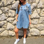 Vestido Denim Parches Dark Blue