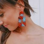 Pendientes Geométrico Rafia Rojo/Azul