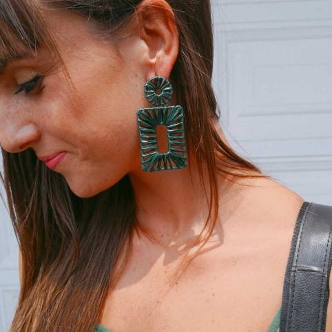 Pendientes Geométrico Rafia Verde Jade