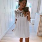 Vestido Plumeti Bordados Blanco