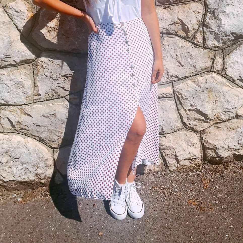 gran descuento diseñador de moda mejor mayorista Falda Evasé Lunares Blanco/Marrón